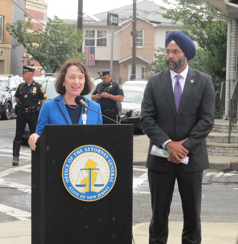 Catherine McCabe and Gurbir Grewal announce the lawsuits.