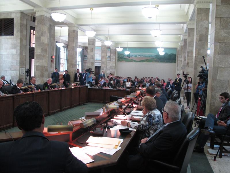 Transit officials testify at legislative hearing.