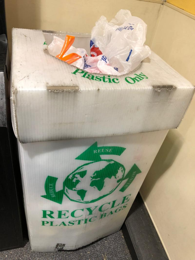 plastic bags in recycling bin