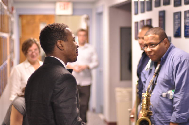 Roy Hargrove with saxohonist Bruce Williams and members of his band at WBGO