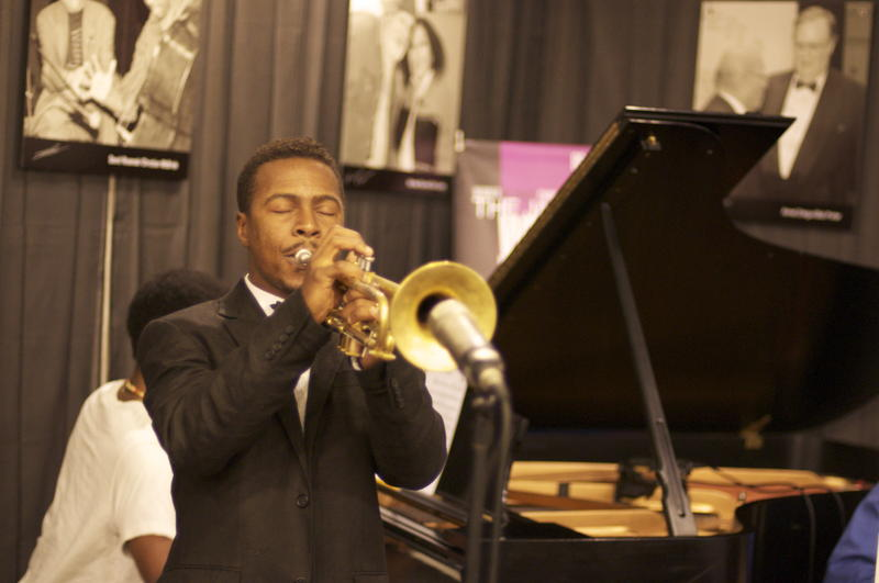 Trumpeter Roy Hargrove with his big band at WBGO, Aug. 28, 2009