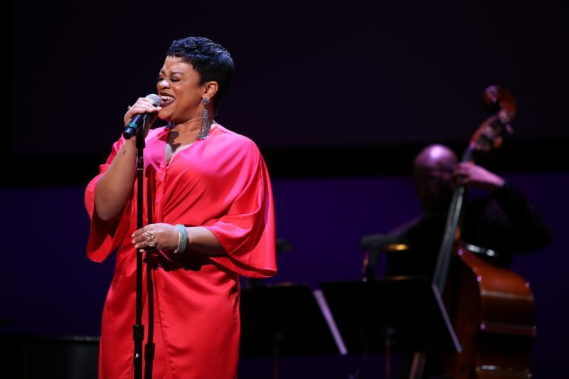 Laurin Talese performing at the Sarah Vaughan International Vocal Competition