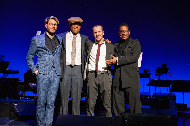 Maxime Sanchez, Isaiah Thompson and Tom Oren, with Herbie Hancock, at the Thelonious Monk Institute of Jazz International Piano Competition, Dec. 3, 2018.