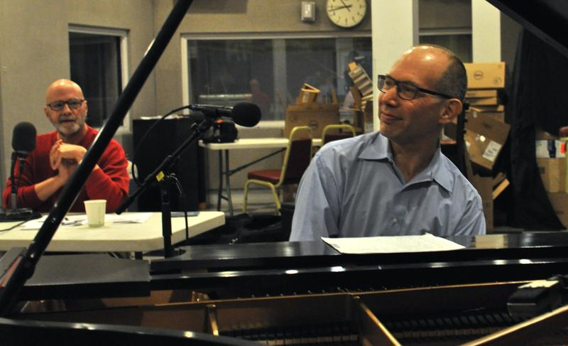Pianist Ted Rosenthal performing holiday favorites in our studio, with Gary Walker looking on, Dec. 5, 2013