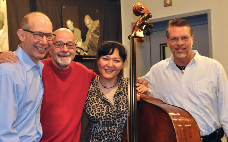 Ted Rosenthal, WBGO's Gary Walker, Noriko Ueda, and Tim Horner