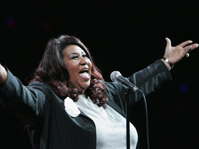 Aretha Franklin sings the National Anthem at the NBA Finals in 2004 in Auburn Hills Mich