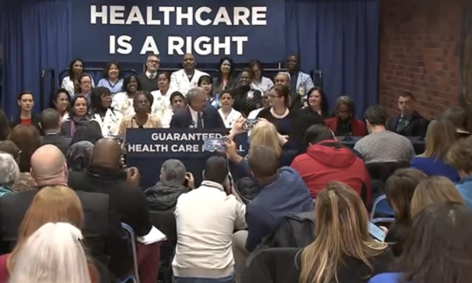 Mayor Bill de Blasio is guaranteeing health coverage for every resident in New York City