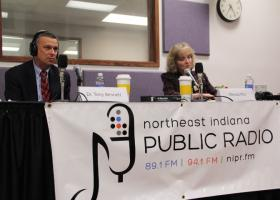 The candidates for Indiana Superintendent of Public Instruction, Republican Dr. Tony Bennett, and Democratic challenger, Glenda Ritz, debate at the NIPR studios Friday, Oct. 26.