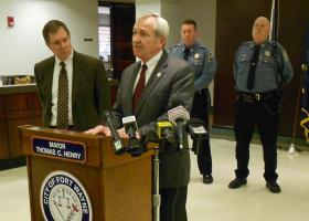 Fort Wayne Mayor Tom Henry and Police Chief Rusty York spoke to the media Thursday about the recent rash of shootings in the city.