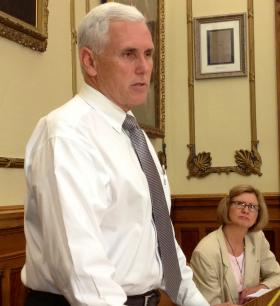 Indiana Gov. Mike Pence announcing the extension of the Healthy Indiana Plan Tuesday.
