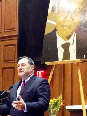 U.S. Sen. Joe Donnelly speaks at a remembrance of former South African President Nelson Mandela Sunday at the Indiana Statehouse.