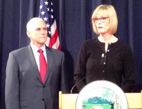 Governor Mike Pence and new state auditor Suzanne Crouch
