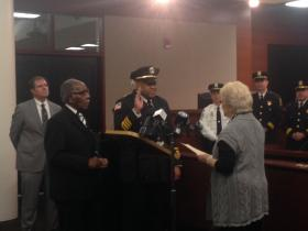 Fort Wayne's new Chief of Police Garry Hamilton being sworn in.