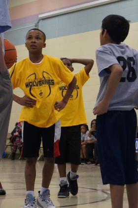 Dionee White waits for the call at a recent Washington Elementary basketball game.