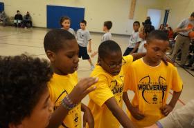 Members of the Washington Elementary basketball team.