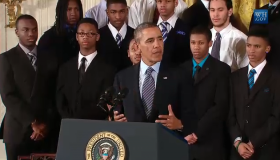 "President Obama announcing ""My Brother's Keeper"" at the White House."