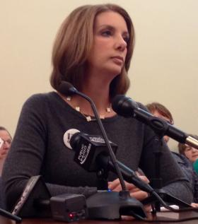 Shannon Watts, founder of Moms Demand Action for Gun Sense in America, testified Monday against a bill allowing guns on school property.