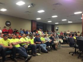 Hundreds of union workers attended Tuesday's city council meeting.
