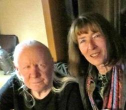 Julia Meek with Johnny Winter in November 2013.