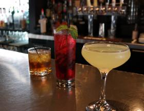 Favorites from Club Soda's new cocktail list include (from left) the Rob Royal, the Vodka Hibiscus Tea, and The Last Word.
