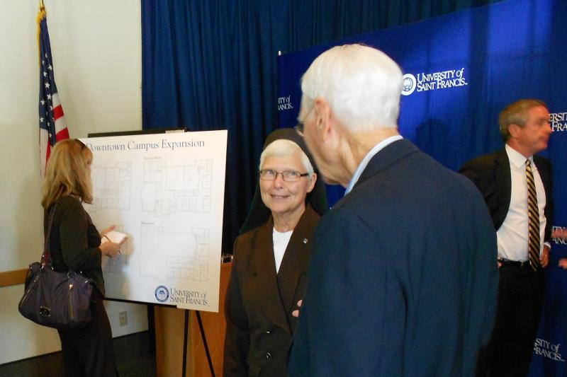 University of Saint Francis President Sister Elise Kriss announced an expansion to USF's downtown campus Monday.