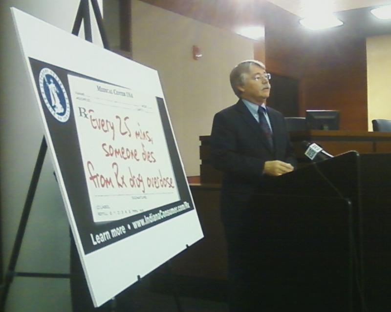Indiana Attorney General Greg Zoeller announces a new billboard in Fort Wayne urging awareness of prescription drug abuse.