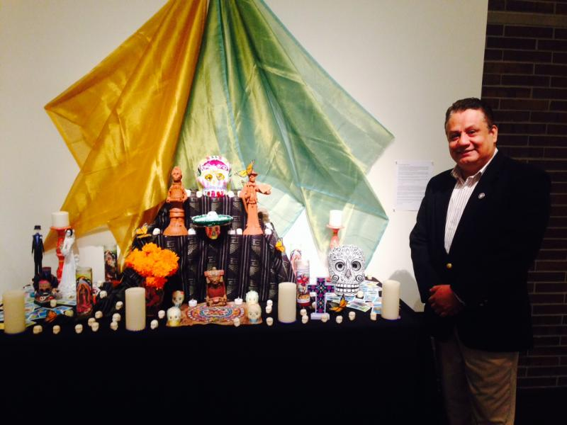 Palermo Galindo with his traditional altar.