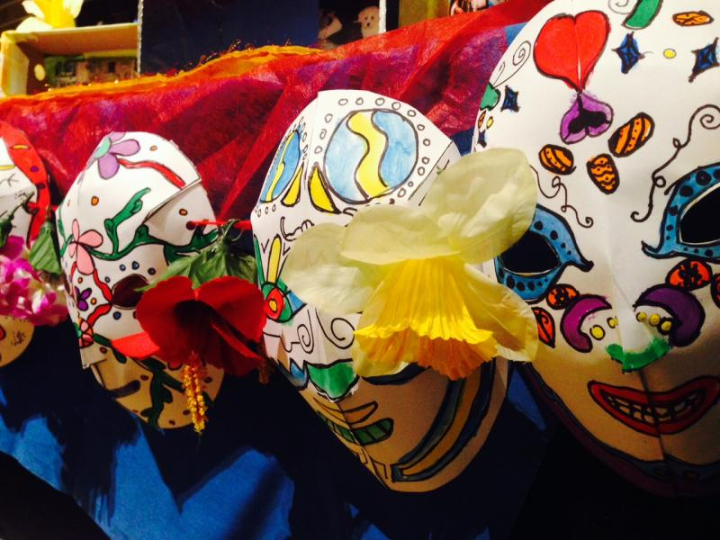 Third and fourth graders from Canterbury School created colorful masks for the exhibit.