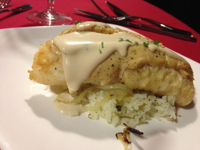 Fish baked in tahini sauce.