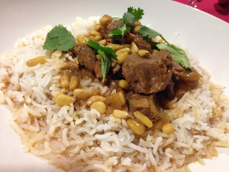 Lamb pilaf, prepared by culinary students at Ivy Tech Northeast.