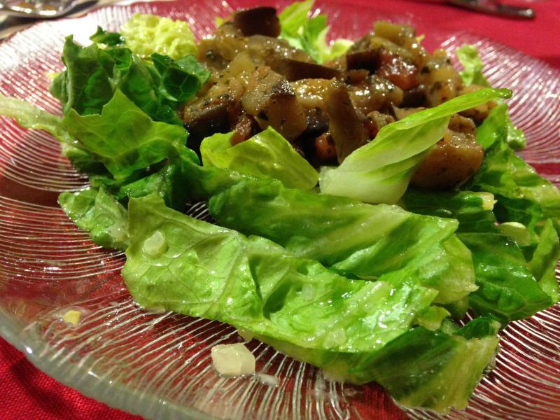 Sweet and sour eggplant salad.