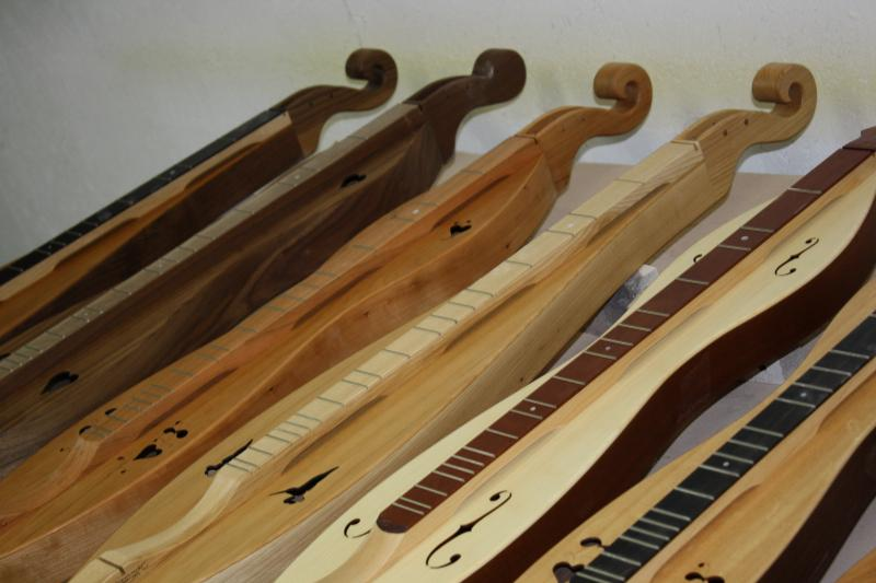 Mountain dulcimers under construction at Folkcraft Instruments in Woodburn.