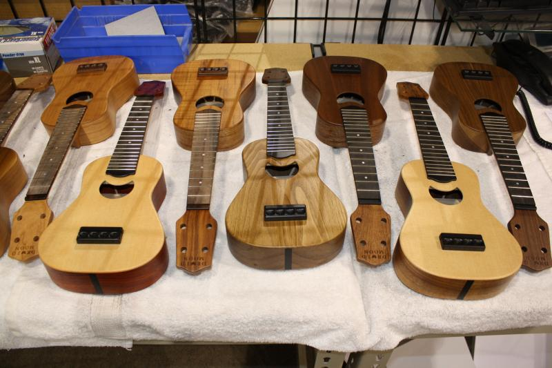 Ukuleles under construction.