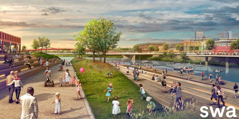 A promenade is recommended as phase 1 of for riverfront development.