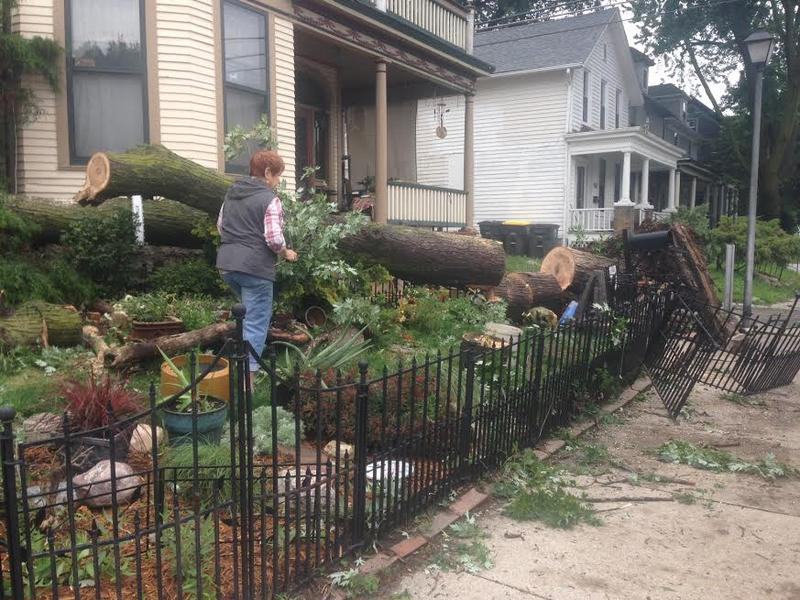 Homeowners spent the morning Saturday removing fallen trees and recovering from damage to their property.