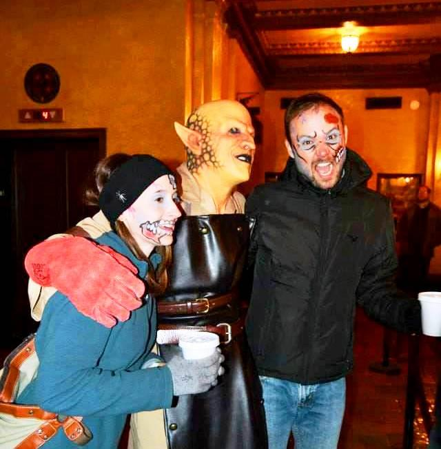 Troy Ganser, center, enjoying Fort Wayne's 2015 Fright Night with two recipients of his creative face painting.