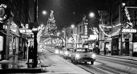 Reflections of downtown Fort Wayne holiday displays in the 1960s.