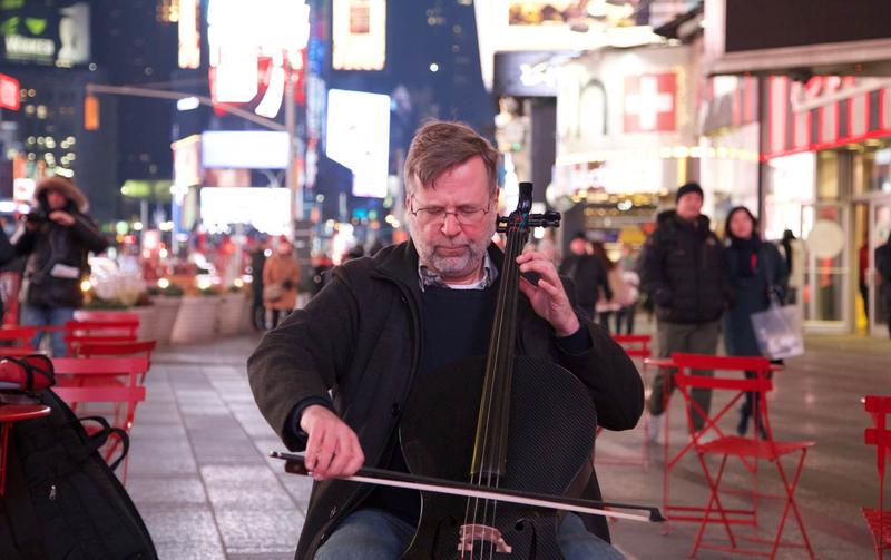 DePauw's Eric Edberg, participating in a most public performance, influenced by last year's Global Musician Workshop with the Silk Road Ensemble.