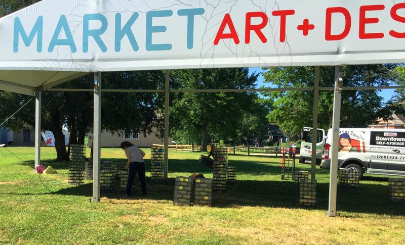 "JFA crew assembling their special Entrance Installation for their 1st appearance at ""Market Art and Design Hamptons"" Art Fair on Long Island."