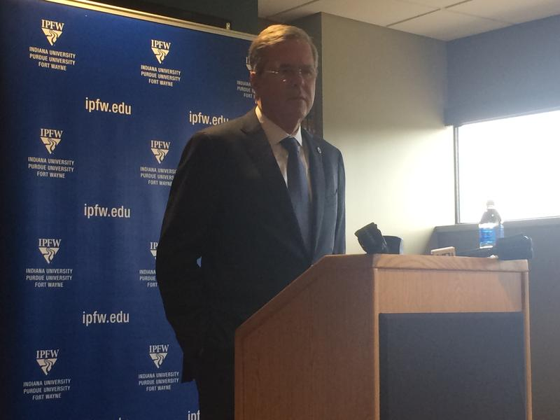 During his time in Fort Wayne, Bush also answered questions from an IPFW class.