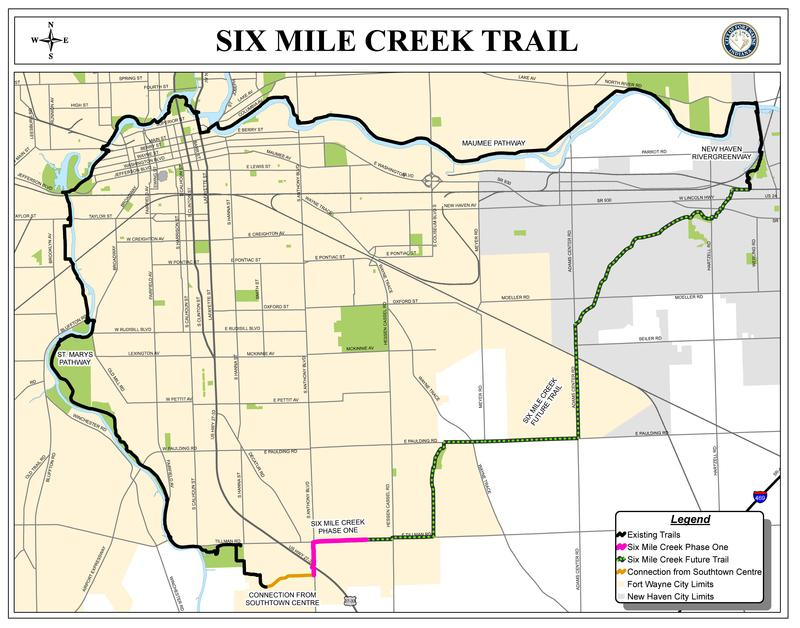A map of the existing and proposed trails in Allen County.