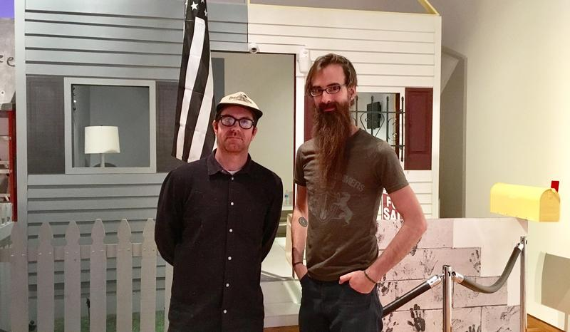 "Artist, Brett Amory and show curator, Josef Zimmerman, at work on the ever-evolving installation for ""Fort Wayne, An American Monologue"""