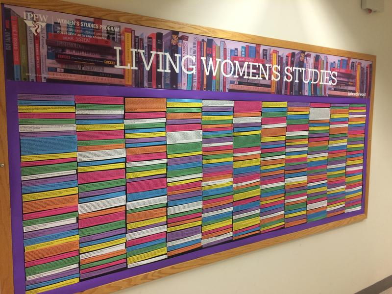 An educational board in the hallway of an IPFW building advertises the Women's Studies program.