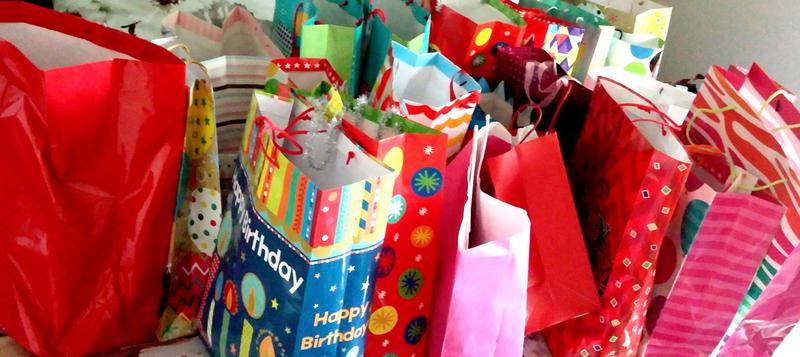 A colorful batch of donated Birthday Bags, ready to be distributed through area food banks, and brighten a kid's special day.