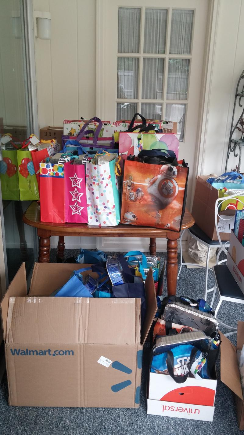 Besides completed bags, donations of cake making supplies, decorations and small toys are also welcomed.