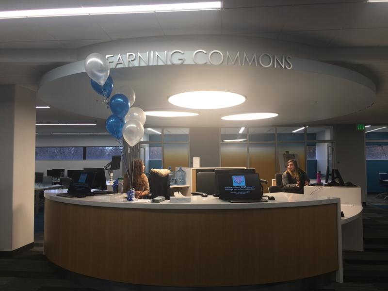 The Learning Commons desk on the second floor allows students to check out iPads or laptops.