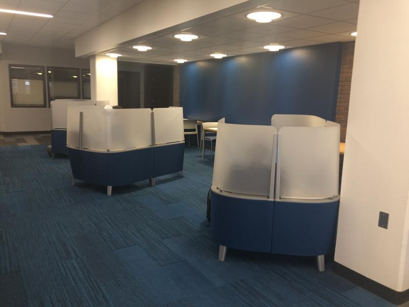 The fourth floor is a quiet floor, and individual study pods are available for students.