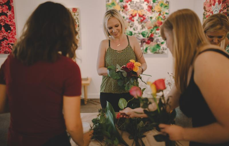 Participants enjoying one of Photanical's Floral Crown workshops, their most popular offering.