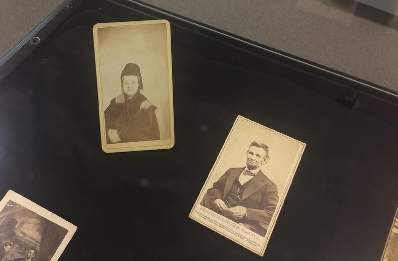 "Abraham Lincoln's last photograph (right); Mary Todd Lincoln with Lincoln's ""spirit"" (left)"