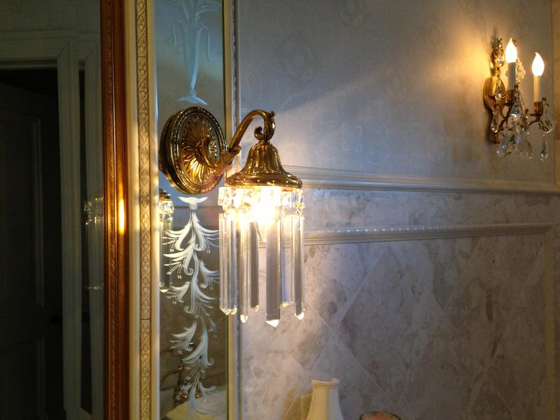 One of two early 1900's French Hotel sconces, restored in 1997 for use on either side of a bathroom vanity mirror. Procured for and installed in a local Fort Wayne Residence.